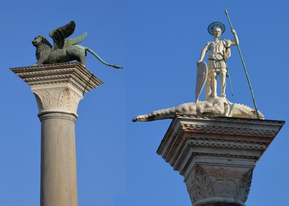 Колонны в Венеции: крылатый лев и статуя Святого Теодора